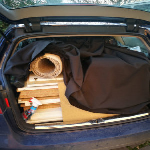 folded furniture, wooden panels, will fit to estate/7 seater/small van